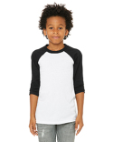 3200Y Bella + Canvas Youth 3/4-Sleeve Baseball T-Shirt