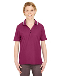 8546 UltraClub Ladies' Short-Sleeve Whisper Piqué Polo with Tipped Collar