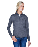 8618W UltraClub Ladies' Cool & Dry Heathered Performance Quarter-Zip