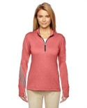 A275 adidas Golf Ladies' Heather 3-Stripes Quarter-Zip Layering
