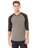 AA1989 Alternative Unisex Eco-Jersey™ 3/4-SleeveRaglan Henley