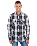 B8202 Burnside Men's Long-Sleeve Plaid Pattern Woven