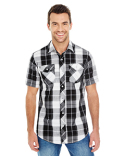 B9202 Burnside Mens Plaid Pattern Woven Shirt