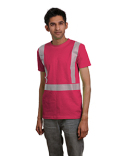 BA3700 Bayside 5.4 oz., 100% Cotton Hi-Visibility Segmented Striping T-Shirt