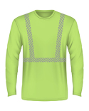 BA3705 Bayside 6.1 oz., 100% Cotton Hi-Visibility Segmanted Striping Long-Sleeve T-Shirt