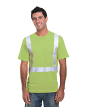 BA3755 Bayside 4.5 oz., Polyester Performance Hi-Visibility Solid Striping T-Shirt
