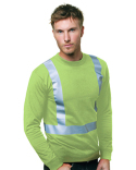 BA3761 Bayside 6.1 oz., 100% Cotton Hi-Visibility Solid Striping Long Sleeve T-Shirt