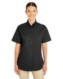 M582W Harriton Ladies' Foundation 100% Cotton Short-Sleeve Twill Shirt Teflon™