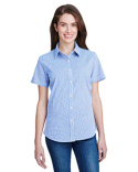 RP321 Artisan Collection by Reprime Ladies' Microcheck Gingham Short-Sleeve Cotton Shirt