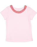RS3329 Rabbit Skins Toddler Girls' Ruffle Neck T-Shirt