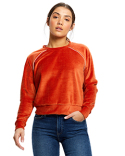 US538 US Blanks Ladies' Velour Long Sleeve Crop T-Shirt